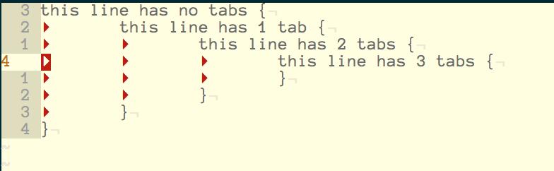 Vim tab characters