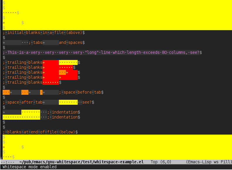 Emacs whitespace-mode