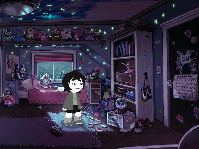 A 2D Joey stands in her bedroom
