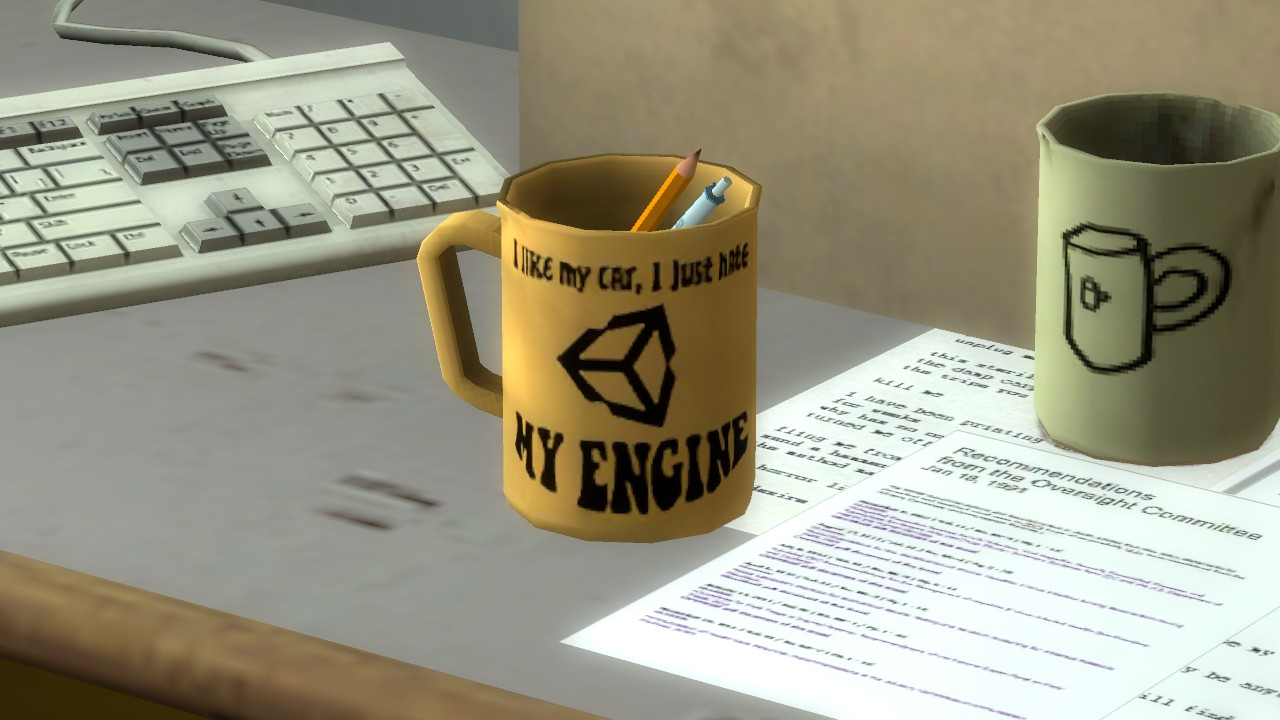 """I love my car, I just hate my engine"" Unity logo mug"