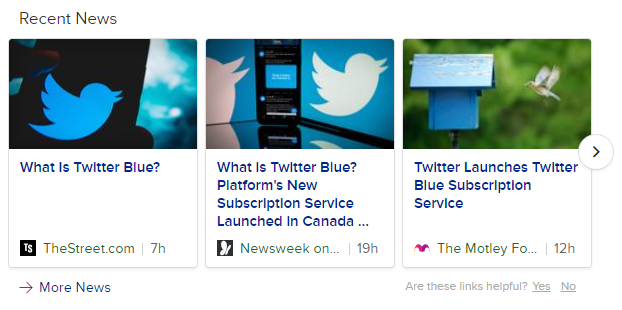 News articles about twitter blue